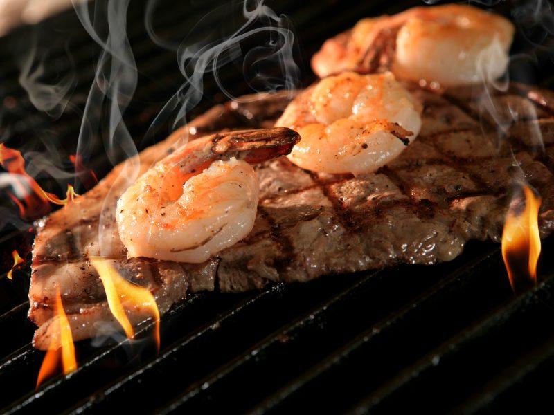 Rip eye steam & shrimp platter